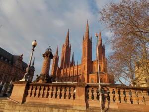 Protestant Church on the main square in downtown Wiesbaden, Germany