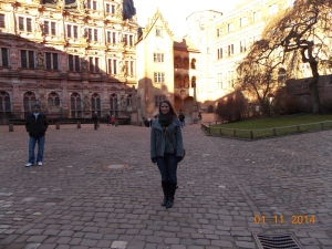 In the courtyard of the Heidelberger Schloss (Heidelberg Castle).
